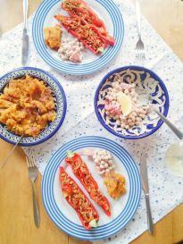 Smoky Stuffed Peppers with Healthy Sweet Potato Mash & Chickpea and Tomato Salad | Vegan