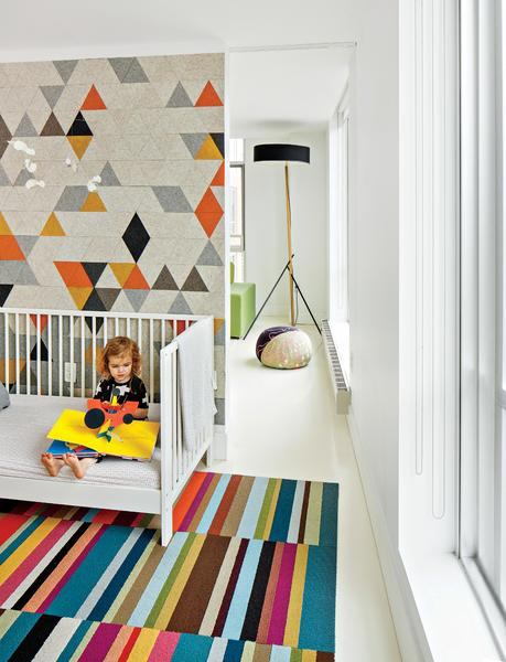 Boston renovation kid's room with Bunny mobile by Flensted, felt mural by FitzFelt, and Excel floor lamp by Rich Brilliant Willing.