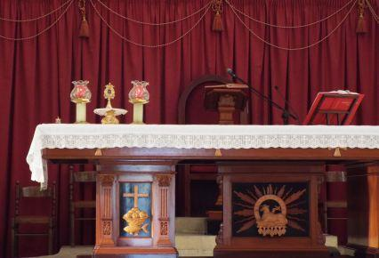 Relic on the altar before Mass