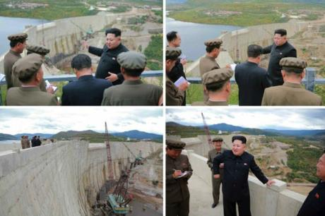 Kim Jong Un inspects a dam that is part of the Paektusan Youth Power Station (Photo: Rodong Sinmun).