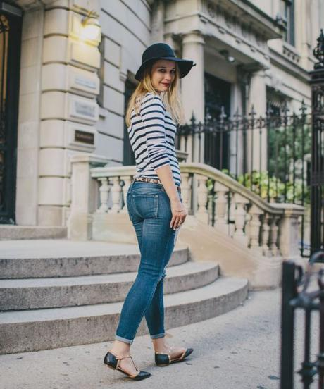 Shian Knuth wearing striped Gap tee, white manicure, and leopard print belt,.