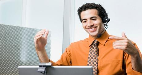 Businessman in web conference