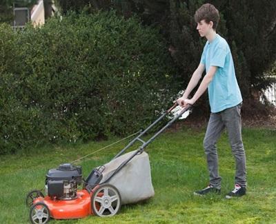 kid lawnmowing