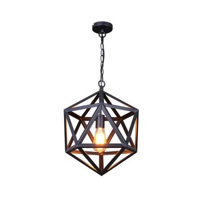 vintage industrial style matte black iron cage pendant light