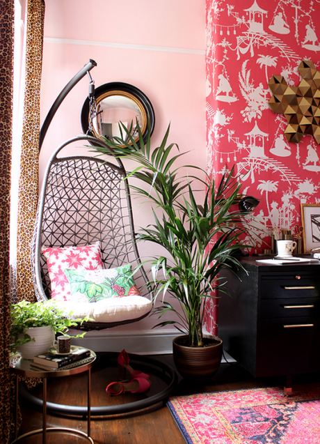 Eclectic Boho Glam Office Reveal by Swoonworthy