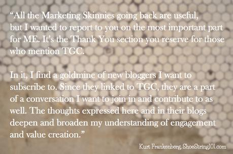 kurt frankenberg's comment on marketing skinny