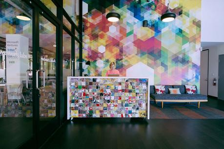 WeWork Hollywood reception area mural