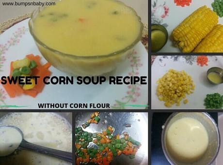 Sweet Corn Soup Recipe for Babies and Kids (without corn flour)