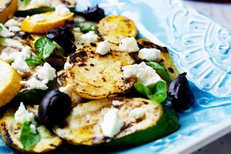 Grilled Sweet Potatoes, Zucchini and Yellow Squash with Olives and Feta