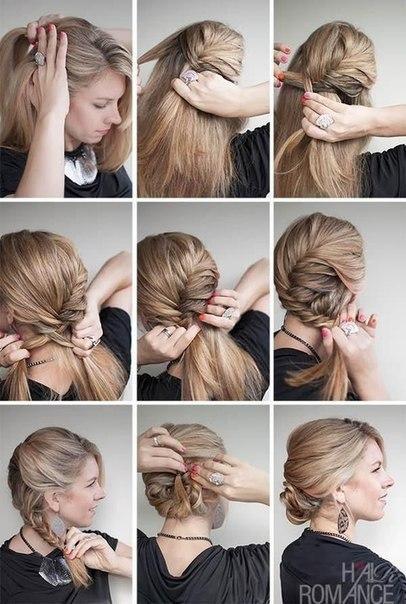 Сделать прическу на волосы средней длины на новый год