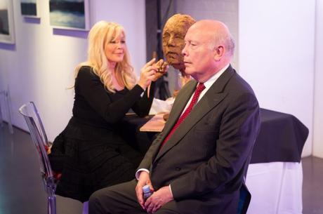 Frances Segelman sculpting Julian Fellowes in aid of the Stroke Association