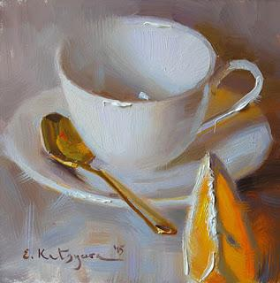 Elena Katsyura - fine china and flowers - and lemon