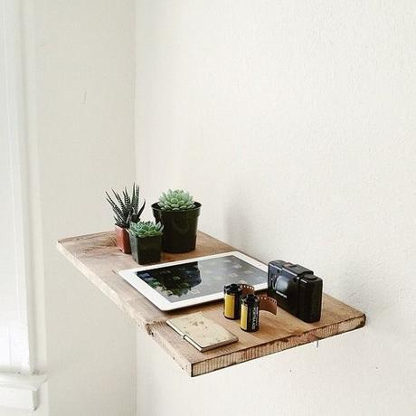 Simple raw wooden shelf:
