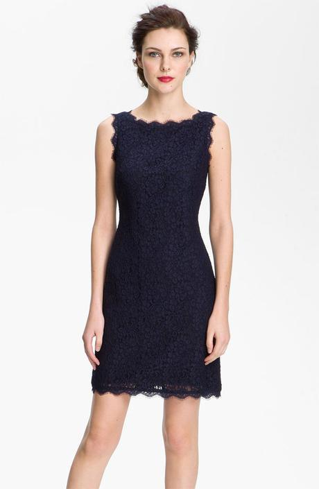 Adriana Papell navy lace dress bridesmaids