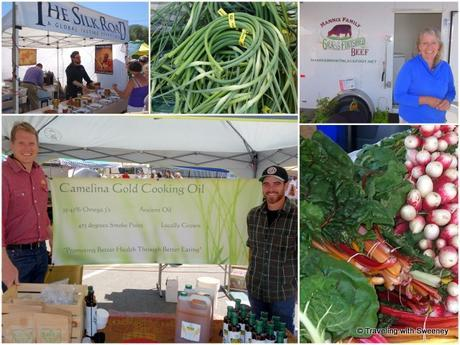 Vendors and produce at the Clark Fork Market
