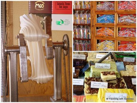 Homemade salt water taffy, candy sticks, and fudge at The Sweet Palace in Philipsburg