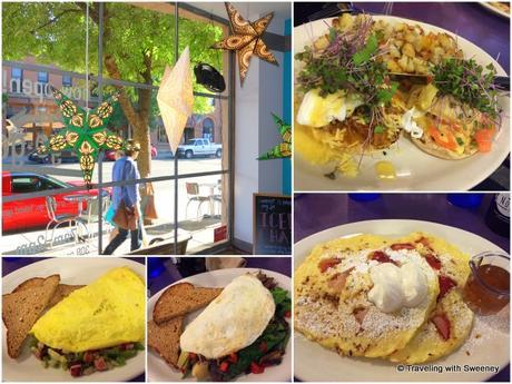 Breakfast at the Nova Café in Bozeman. From top right: 1/2 and 1/2 Eggs Benedict, cottage cheese pancakes, Forager Omelet, and a Western Omelet