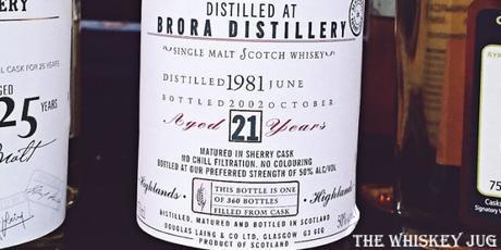 Brora 21 years Old Malt Cask Labeljpg