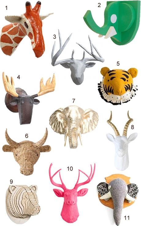 Get the look 45 faux animal heads paperblog for Animal head wall decoration