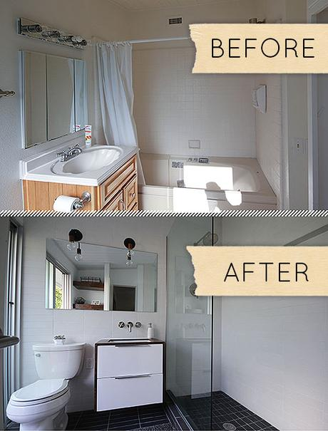 modern small bathroom makeover remodel clean white glass floating