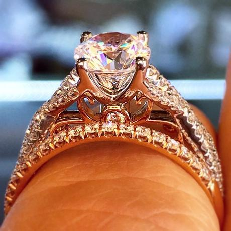 Verragio rose gold engagement ring and wedding band