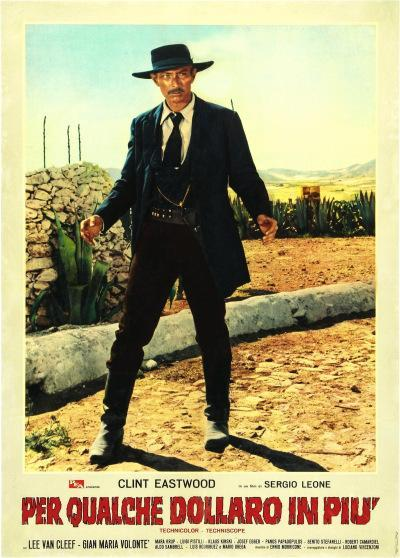 An Italian poster for For a Few Dollars More (1965), featuring Lee Van Cleef as Colonel Douglas Mortimer.