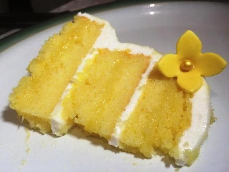 lemon layer cake three tier showstopper with flower gluten free homemade lemon curd marshmallow frosting