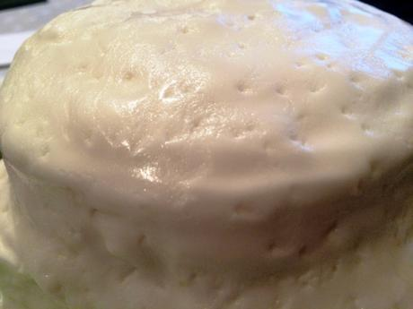 textured effect stipling on marshmallow frosting tiered lemon cake