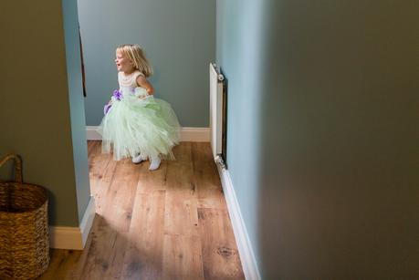 Bride Preparation for Barmbyfield Barn Wedding Little bridesmaid