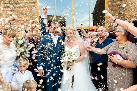 Confetti at barmbyfield barn wedding