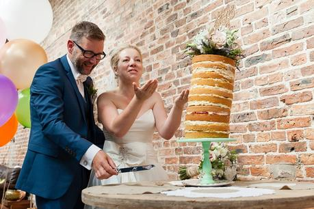 Cake cutting at barmbyfield barn wedding