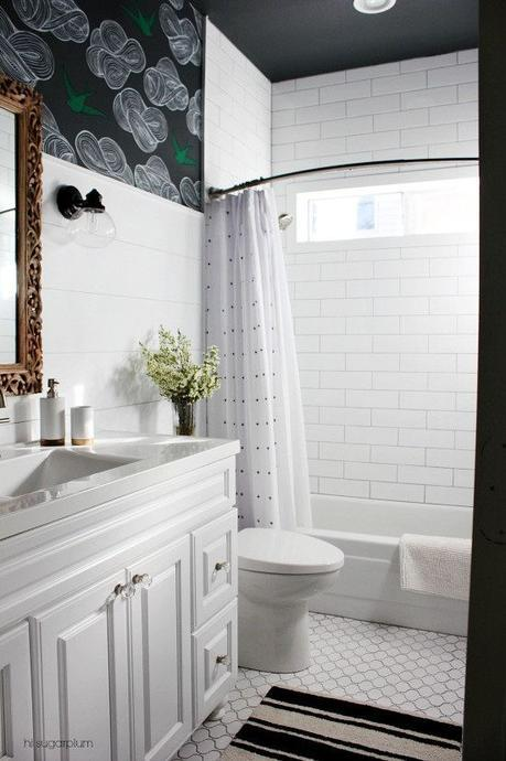Hi Sugar Plums reveals the lovely result of their elegant yet affordable bathroom makeover!  Someday we will take our shower tile to the ceiling as she did.  And that Moroccan floor tile is so pretty.: