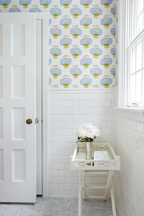 bathroom wallpaper + tile: