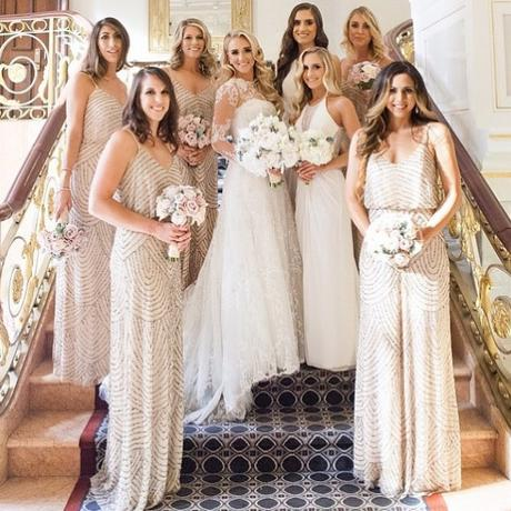 Pale Blush Adrianna Papell Bridesmaid Dresses