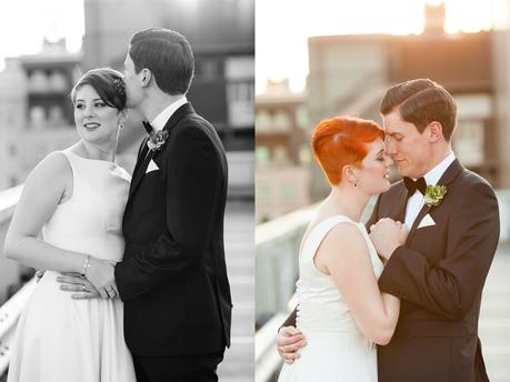 Leeds Club Wedding Photography Rooftop Portraits in Sunset