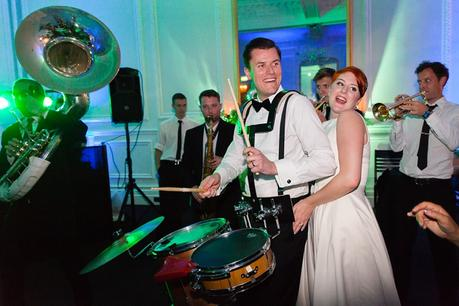Leeds Club Wedding Photography New York Brass Band Party Groom plays Drums