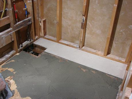 concrete cement underlayment subfloor material how to advice tips backerboard plywood bathroom drain remodel