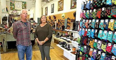 The Gils, proprietors of the Sockshop/Santa Cruz Sentinel Photo