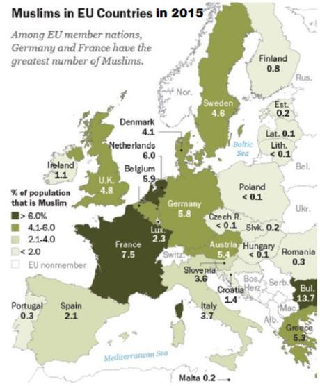 Muslims in EU countries in 2015