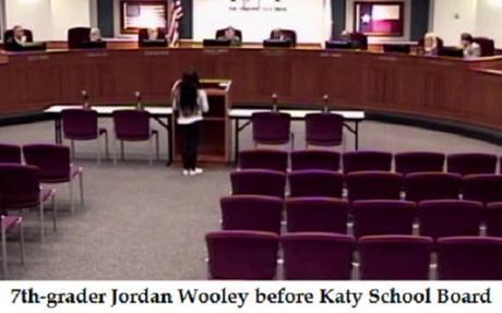 Jordan Wooley testifies before Katy School Board