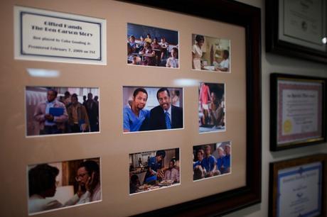 Framed stills from 2009 TV movie based on Carson's bio