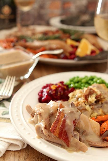 Maple-Roasted Turkey with Sage, Bacon, and Cornbread Stuffing