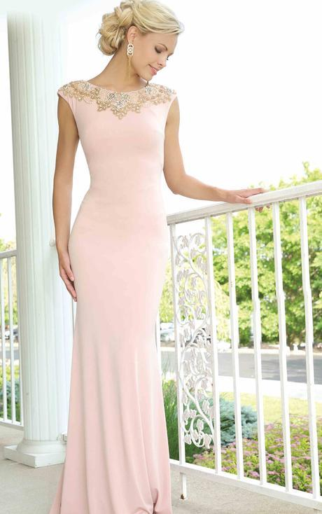Fashion Bateau Neck Cap Sleeved Sheath Long Jersey Prom Dress with Crystal Embellishments _1