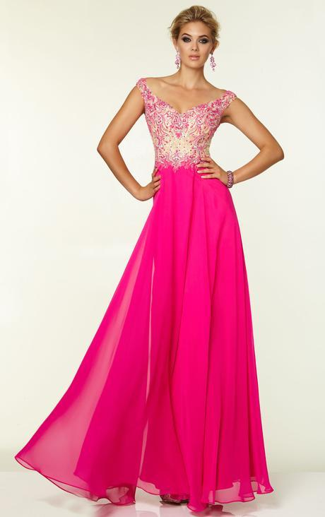 A-line Off The Shoulder Sleeveless Beading  Pearl Detailing Floor-length  Long Lace Chiffon Prom Dresses_1