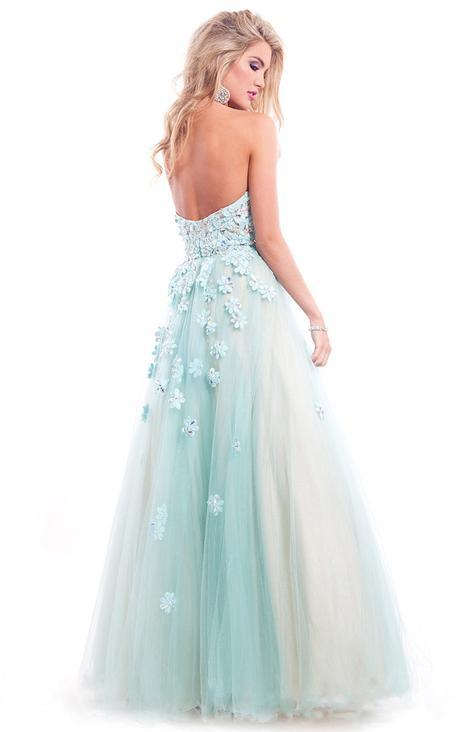 Strapless Sweetheart Lace Appliques Bodice Long A-line Tulle Prom Dress  _1