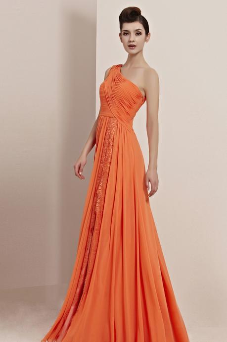 Stylish A-line One Shoulder Sleeveless Beading Draping Ruffles  Floor-length Chiffon Prom Dresses_1