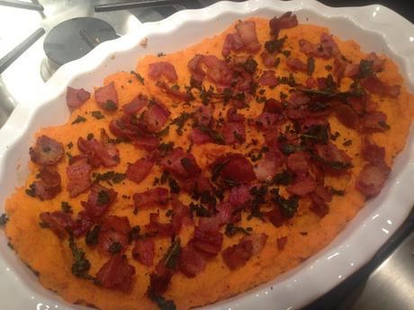 Bourbon Bacon Whipped Sweet Potatoes with Browned Butter and Sage