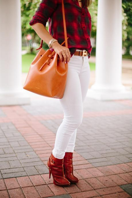 how to wear a plaid shirt, how to wear white jeans, mansur gavriel bucket bag cammello rosa