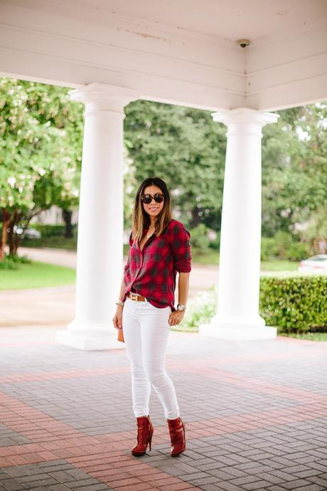 how to wear a plaid shirt, how to wear white jeans