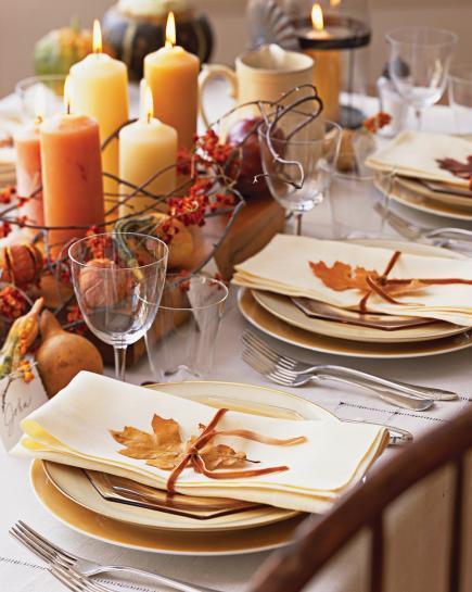 leaf on napkins table setting